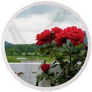 Stormy Roses Round Beach Towel by Valeria Donaldson