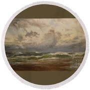 Stormy Sea At Bude Round Beach Towel