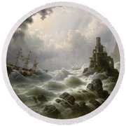 Stormy Sea With Lighthouse On The Coast Round Beach Towel