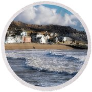 Stormy Seafront - Lyme Regis Round Beach Towel
