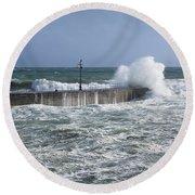 Stormy Seas Round Beach Towel
