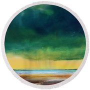 Stormy Seas Round Beach Towel by Toni Grote