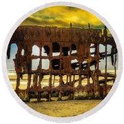 Stormy Shipwreck Round Beach Towel