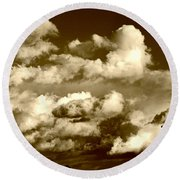 Stormy Skies In Socal Round Beach Towel
