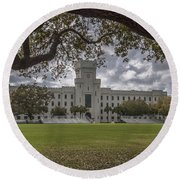 Stormy Skies Over The Citadel Round Beach Towel