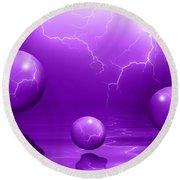 Stormy Skies - Purple Round Beach Towel