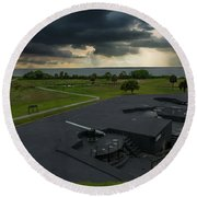 Stormy Sky Over Fort Moultrie Round Beach Towel
