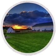 Stormy Sunset In The Country Round Beach Towel