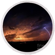 Stormy Sunset Round Beach Towel
