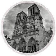 Stormy Views Of Notre-dame Round Beach Towel