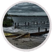 Stormy Waters Round Beach Towel
