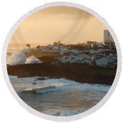 Stormy Weather In Azores Round Beach Towel