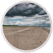 Stormy Weather Over Tentsmuir Beach In Scotland Round Beach Towel