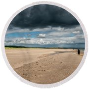 Stormy Weather Over The Beach In Scotland Round Beach Towel