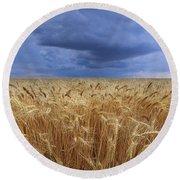 Stormy Wheat Field Round Beach Towel