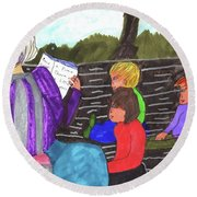 Story-time On Grand Mom's Porch Round Beach Towel