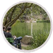 Stow Lake Round Beach Towel by Kate Brown
