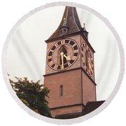 St.peter Church Clock In Zurich Switzerland Round Beach Towel