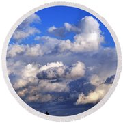 Strange Clouds Round Beach Towel