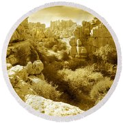 Strange Rock Formations At El Torcal Near Antequera Spain Round Beach Towel