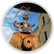 Strange Steam Punk Demonic Figure Round Beach Towel