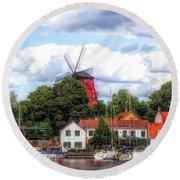 Windmill In Strangnas Sweden Round Beach Towel