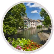 Strasbourg, Half-tmbered Houses, Petite France, Alsace, France Round Beach Towel