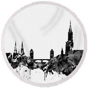 Strasbourg Skyline-black Round Beach Towel