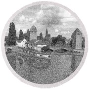 Strasbourg. View From The Barrage Vauban. Black And White 2 Round Beach Towel