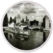 Strasbourg. View From The Barrage Vauban. Black And White Round Beach Towel