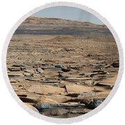 Stratified Rock On Mars Round Beach Towel