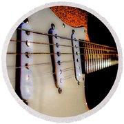 Stratocaster Pop Art Tangerine Sparkle Fire Neck Series Round Beach Towel