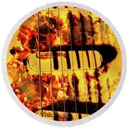 Stratocaster Strat Plus Lace Sensors Pop Art Round Beach Towel