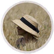 Straw Hat Round Beach Towel