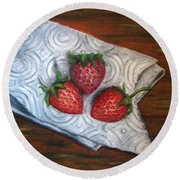 Strawberries-3 Contemporary Oil Painting Round Beach Towel