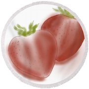 Strawberries Airbrushed Round Beach Towel