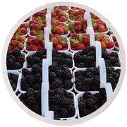 Strawberries And Blackberries Round Beach Towel