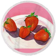 Strawberries And Cream Round Beach Towel
