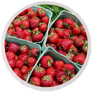 Strawberries In A Box On The Green Grass Round Beach Towel