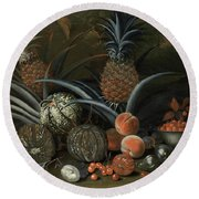 Strawberries In A Porcelain Bowl With Pineapples Melons Peaches And Figs Before A Tropical Landscape Round Beach Towel