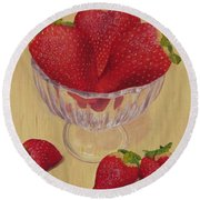 Strawberries In Crystal Dish Round Beach Towel