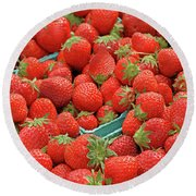 Strawberries Jersey Fresh Round Beach Towel
