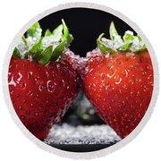Strawberries Panorama Round Beach Towel