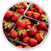 Strawberries With Green Weed In Plastic Containers  Round Beach Towel