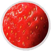 Strawberry Abstract Round Beach Towel