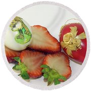 Strawberry And Easter Eggs Round Beach Towel