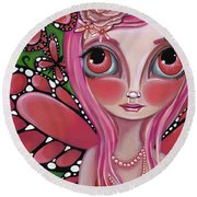 Strawberry Butterfly Fairy Round Beach Towel