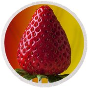 Strawberry On Fork Round Beach Towel by Garry Gay