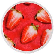 Strawberry Slice Food Still Life Round Beach Towel