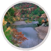 Stream And Fall Color In Central California Round Beach Towel